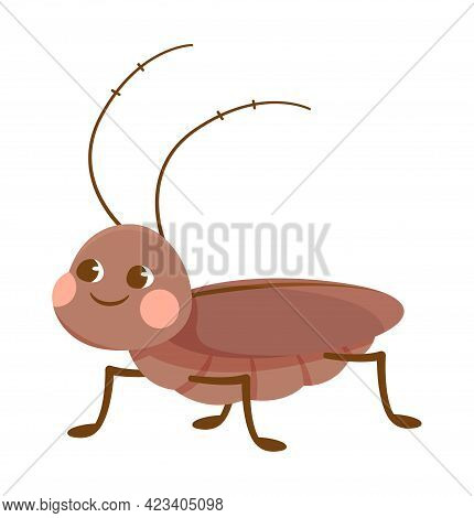 Cute Brown Smiling Cockroach On White Background. Concept Of Stickers Of Cute And Funny Insects And