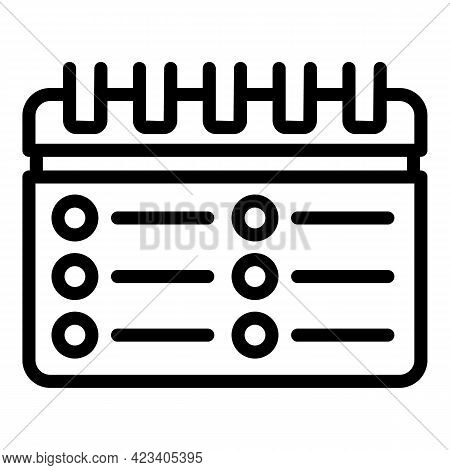 Event Planner Diary Icon. Outline Event Planner Diary Vector Icon For Web Design Isolated On White B