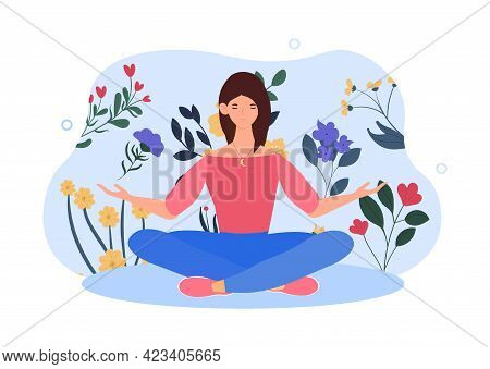 Happy Female Character Is Sitting In Lotus Pose With Arms Opened. Concept Of Creating Good Vibe Arou
