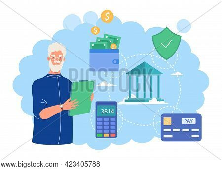 Male Elderly Character Is Counting And Saving Pension Money. Concept Of Retirement Preparation, Fina