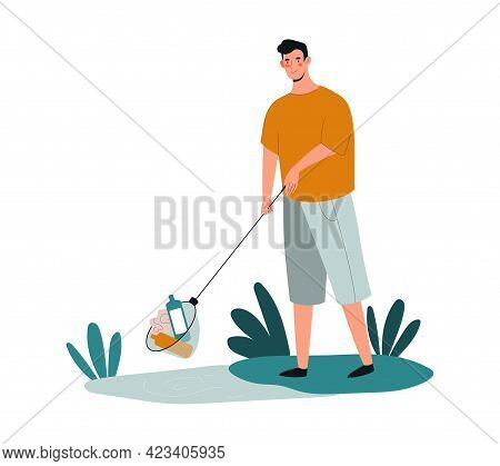 Young Male Character Is Collecting Plastic Trash With A Stick. Concept Of People Collecting Trash On