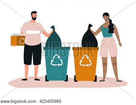 Male And Female Characters Are Collecting Trash In Recycling Bin. Concept Of People Collecting Trash