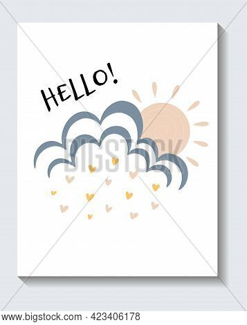 Cute Sticker Of Sun Coming Out Of A Cloud With Hello Lettering On White Background. Concept Of Posit