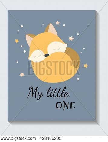 Cute Sticker Of Sleeping Fox With My Little One Lettering On Blue Background. Concept Of Positive Sh