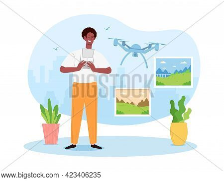 Young Male Quadcopter Operator Is Making Photos With Flying Drone. Concept Of Aerial Photography, Ai