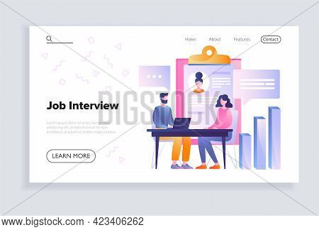 Male Hr Manager Is Interviewing Young Woman In The Office. Concept Of Recruitment And Job Management