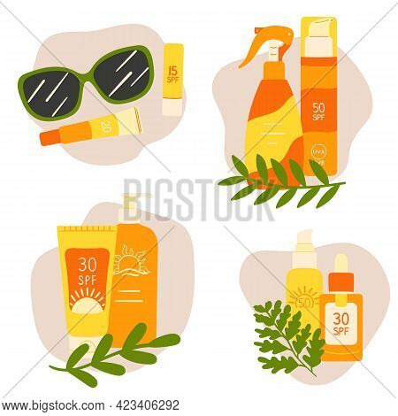 Set Of Icons With Sunscreen Cream, Lotion, Lips Balm, Sunglasses, Leaves And Abstract Shapes. Sunscr