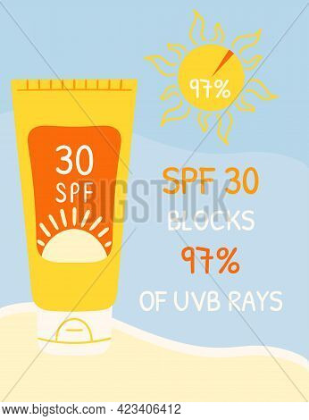 Sunscreen Bottles With Spf 30 That Blocks Uvb Rays. Sunscreen Protection Infographic On Beach Backgr