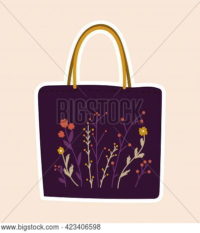 Cute Sticker Of Purple Bag Sewed With Flowers On Cloth On Pink Background. Concept Of Sewing Or Need