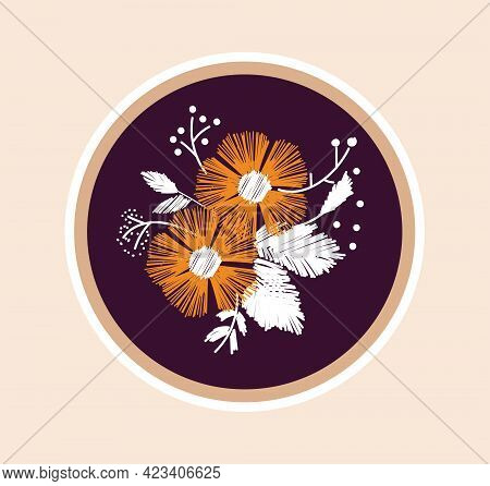 Cute Sticker Of Beautiful Sewing Artwork With Flowers. Concept Of Sewing Or Needlework Stickers With