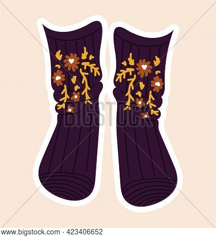 Cute Sticker Of Purple Socks Sewed With Flowers On Cloth On Pink Background. Concept Of Sewing Or Ne