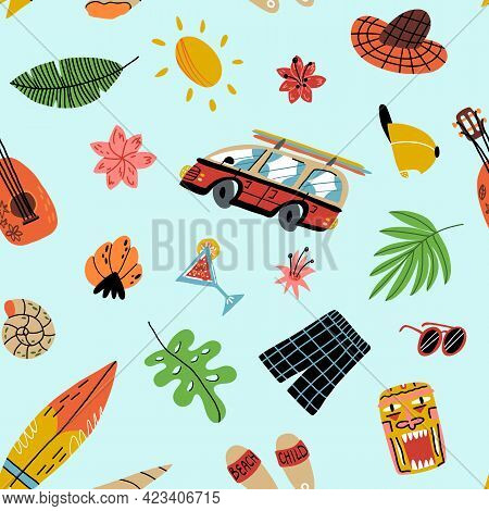 Hawaiian Stories Seamless Pattern. Exotic Flowers, Leaves, Retro Bus With Surfboards On Top, Tiki Ma