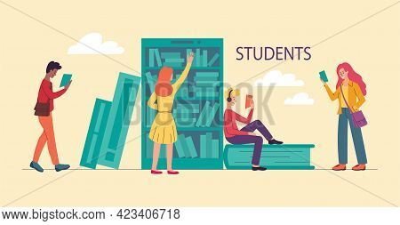 Group Of Young Students Is Spending Time In University Together. Young Girls And Boys Holding Books