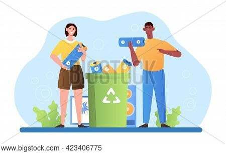 Male And Female Characters Are Throwing Out Batteries Into Special Litter Bin For Recycling And Tras