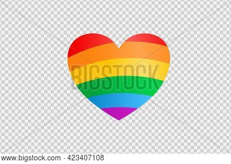 Rainbow Lgbt Heart Shape Isolated On Png Or Transparent  Background, Symbol Of Lgbt Gay Pride,vector