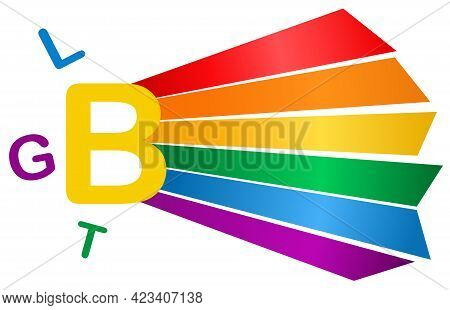 Rainbow Lgbt Flag With Text Isolated On White Background, Symbol Of Lgbt Gay Pride,vector Illustrati