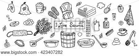 Set Of Items For Russian Bath And Sauna, Set Of Doodles On The Theme Of Sauna, Contour Black And Whi