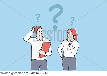 Feeling Doubt, Question, Thinking Concept. Young Frustrated Man And Woman Business Partners Cartoon