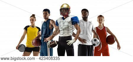 Sport Collage. Tennis, Soccer Football, Basketball Players Posing Isolated On White Studio Backgroun