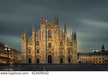 Duomo , Milan Gothic Cathedral At Evening,italy,europe.horizontal Photo With Copy-space.long Exposur