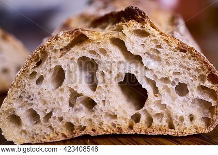 Closeup Of The Crumb Of A Piece Of Bread