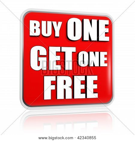 Buy One Get One Free Red Banner