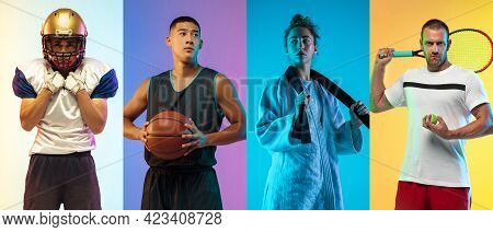 Collage Of Different Professional Sportsmen, Fit People Isolated On Color Background. Flyer.
