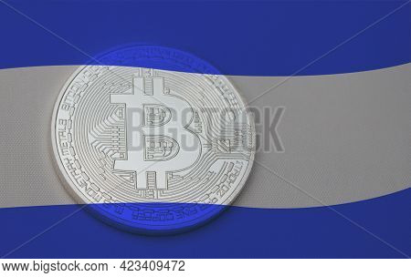 El Salvador Flag With Bitcoin. El Salvador As First Country Adopting Bitcoin As Legal Tender Concept