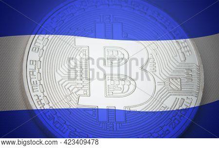 El Salvador Flag Over Bitcoin. El Salvador As First Country Adopting Bitcoin As Legal Tender Concept