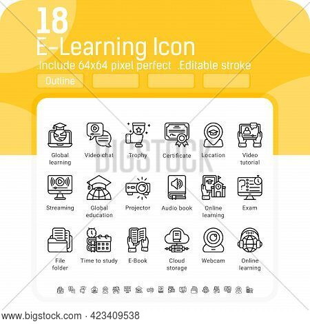 Collection Of Elearning Icon With Line Style Isolated On White Background. Vector Illustration Onlin