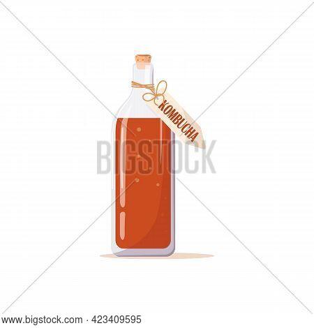Glass Bottle Of Kombucha Tea, Label With An Inscription. Mushroom, Fermented Probiotic Homemade Tea.