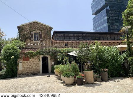 Tel-aviv, Israel - May 04, 2021: Historic Houses In The Restored Historic Sarona Quarter Of Tel Aviv
