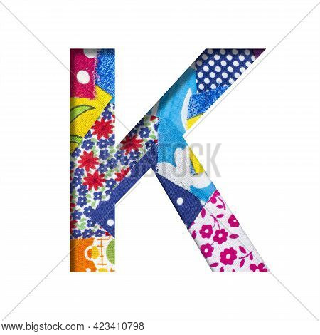 Handicraft Or Creative Font. The Letter K Cut Out Of Paper On The Background Of The Texture Of Piece