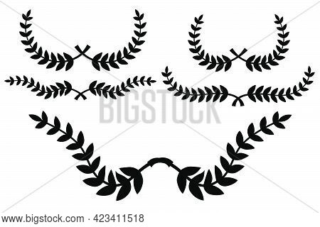 Set Of Floral, Laurel Wreath Border, For Your Design Element, Isolated On White