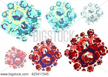 Vector Drawing Of A Coronovirus Particle. Isolated On A White Background.