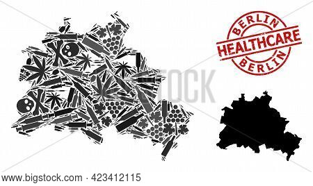 Vector Addiction Mosaic Map Of Berlin City. Scratched Healthcare Round Red Seal. Template For Narcot