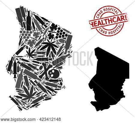 Vector Narcotic Mosaic Map Of Chad. Rubber Health Care Round Red Rubber Imitation. Template For Narc