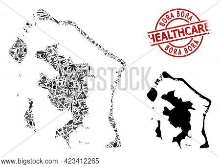 Vector Narcotic Collage Map Of Bora-bora. Grunge Health Care Round Red Seal. Concept For Narcotic Ad