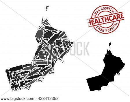 Vector Narcotic Composition Map Of Oman. Scratched Health Care Round Red Stamp. Concept For Narcotic