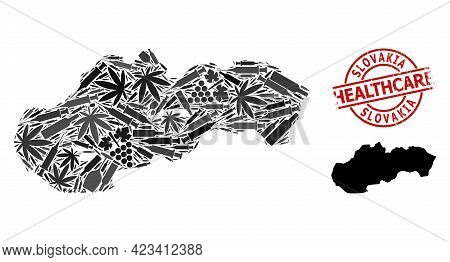Vector Addiction Composition Map Of Slovakia. Scratched Health Care Round Red Imprint. Concept For N