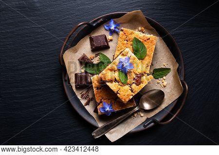 Food Concept Rustic Brookies Or Crownies Combine Cookies And Brownie On Black Background With Copy S