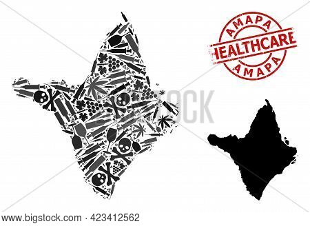Vector Drugs Mosaic Map Of Amapa State. Rubber Health Care Round Red Rubber Imitation. Template For
