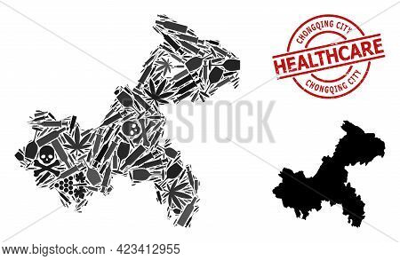 Vector Addiction Collage Map Of Chongqing Municipality. Rubber Health Care Round Red Stamp. Concept