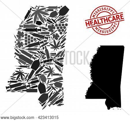 Vector Drugs Collage Map Of Mississippi State. Grunge Health Care Round Red Seal. Template For Narco