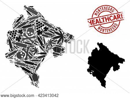 Vector Narcotic Collage Map Of Montenegro. Scratched Health Care Round Red Imprint. Concept For Narc