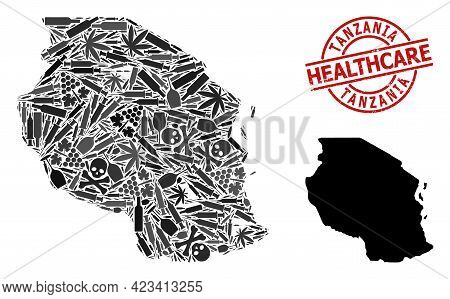 Vector Narcotic Collage Map Of Tanzania. Grunge Health Care Round Red Seal Stamp. Concept For Narcot