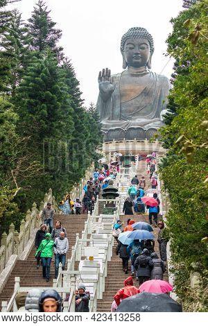 Hong Kong - January 26, 2016: Large Bronze Statue Of Buddha Shakyamuni Known As Tian Tan Buddha Is 3