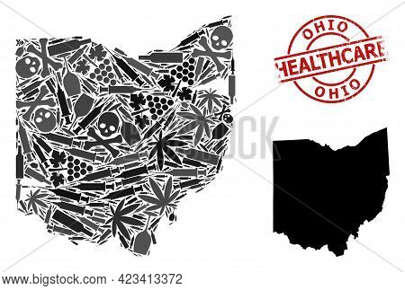 Vector Drugs Collage Map Of Ohio State. Grunge Health Care Round Red Imprint. Template For Narcotic