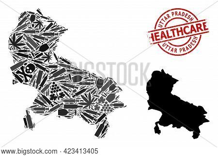Vector Narcotic Composition Map Of Uttar Pradesh State. Grunge Healthcare Round Red Watermark. Templ