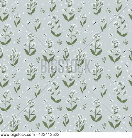 Seamless Vector Pattern With Meadow Or Wildflowers And Dragonflies On Light Green Background. Design